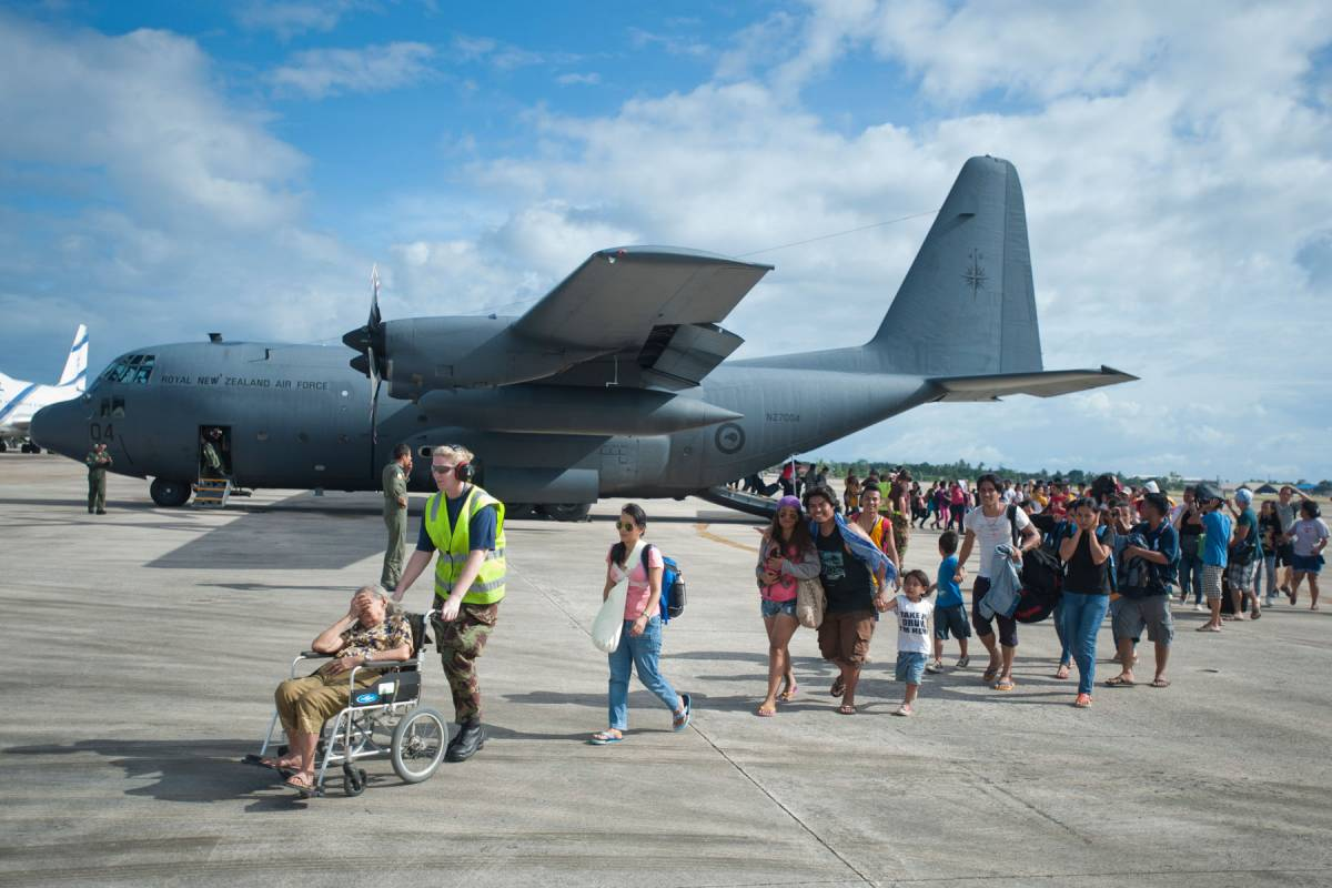 The New Zealand Defence Force helping to evacuate people affected by Typhoon Haiyan.
