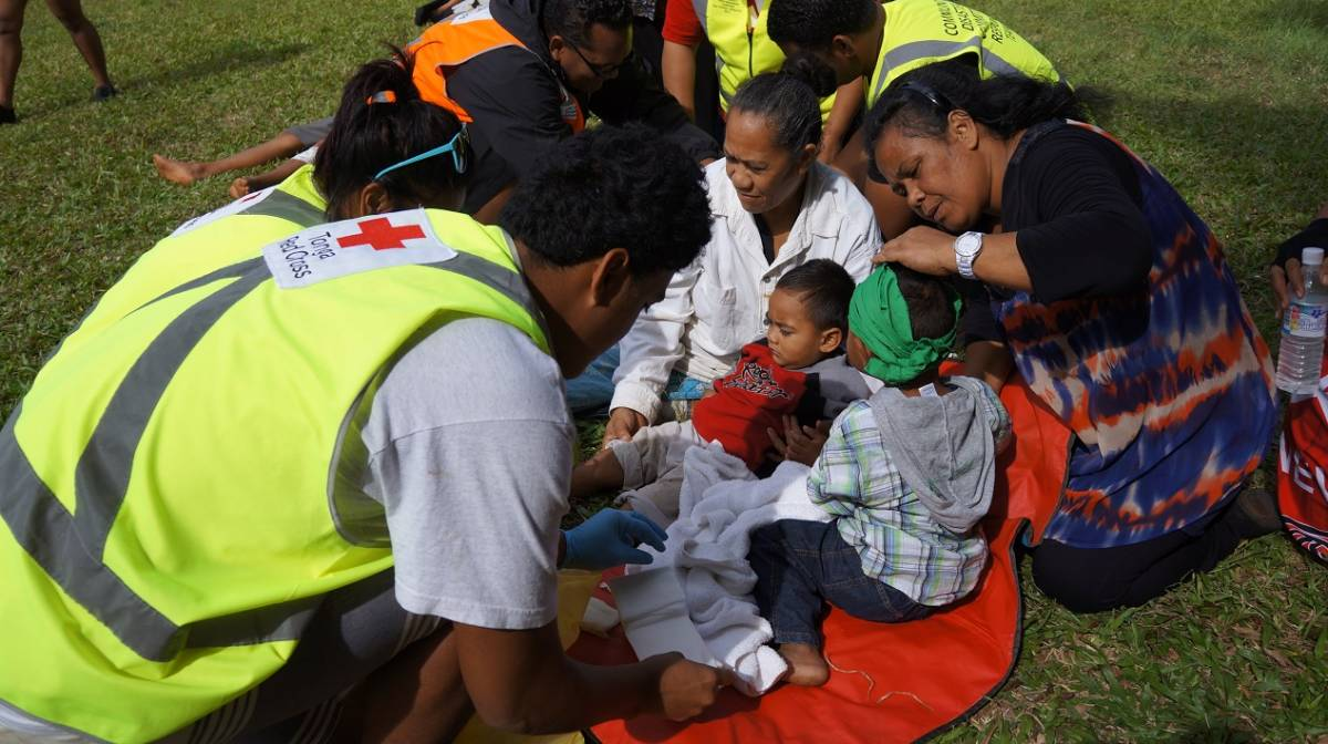 An emergency simulation exercise in Tonga.